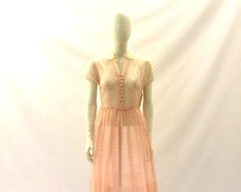 Vintage dress 1950s dress sheer pink dress floral dress day dress