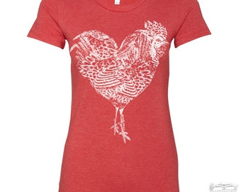 Womens Rooster Heart T Shirt -hand screen printed s m l xl xxl XXL (+ Colors Available)