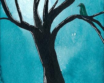 Black Bird Full Moon Greeting Card Hand Painted