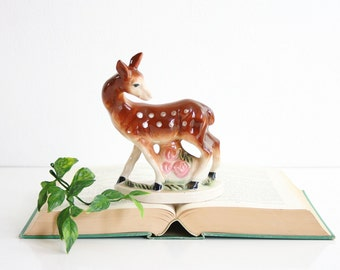Mid Century Ceramic Deer Figurine / Retro Deer Figurine from Japan / Ceramic Fawn Figurine / Vintage Deer Decor