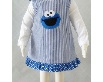 Cookie Monster Dress, Cookie Monster First Birthday Dress, Cookie Monster Outfit, Cookie Monster Jumper Dress, Size 6-12M Ready to Ship