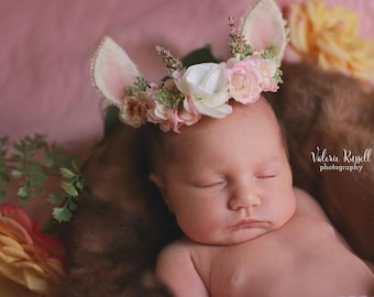 "Newborn and Beyond ""Wee Ears Princess"" Crown/Tieback with Hand Felted Ears"
