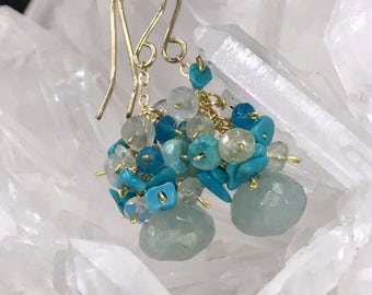 Aquamarine Earrings Gemstone Cluster Earrings Sleeping Beauty Turquoise 14kt Gold Fill Wire Wrap Apatite Aquamarine Blue Grey Earrings