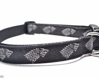 Wolf Dog Collar / House Stark / Game of Thrones / Martingale or Buckle Custom Dog Collar