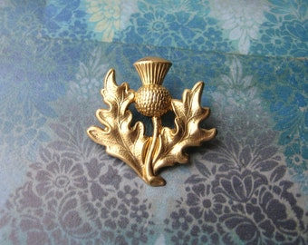 Scottish Thistle - Golden Thistle Brooch, Lapel Pin or Tie Pin Tie Tack with Gift Box