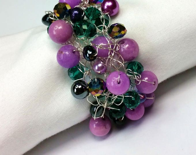 Purple and Teal Wire Crocheted Bracelet