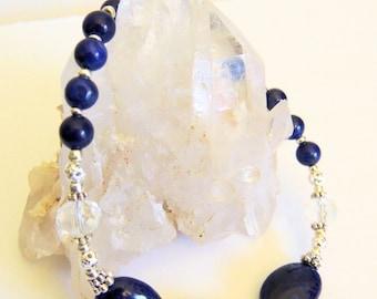 Lapis Lazuli Bracelet, Sterling Silver Jewelry, Handcrafted Jewelry, Gemstone Jewelry, Statement Bracelet, Blue Gemstone