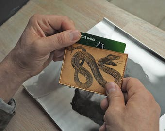 Leather Card Case - Handcrafted Snake Printed Design