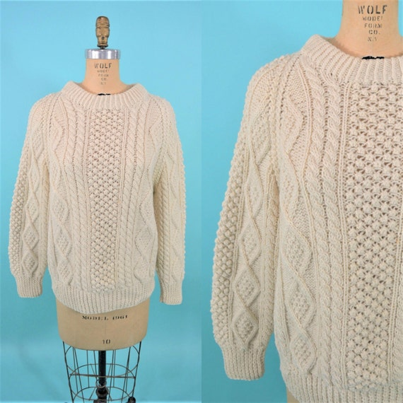 1960s Irish sweater vintage cable knit sweater 60s cream