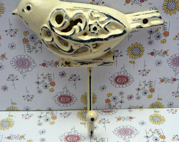 Bird Cast Iron Wall Hook Off White Shabby Chic Nursery Spring Summer Wall Decor