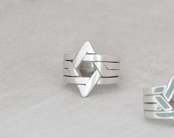 Star of David - 4 piece puzzle ring,Sterling silver,Unisex,For Daughter/Son/Bar Mitzvah,geometric ring,israel,jewish,symbol,Playful,Unique .