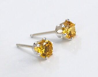 Citrine Silver Stud Earrings, Sterling Silver Stud Earrings, November Birthstone, Gift for Her, Citrine Earrings, Citrine Post Earrings