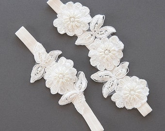 Wedding Garter Set | Lace Garter | Bridal Garter | Wedding Toss Garter | Ivory Flower Garter | Boho Floral Garter [Azalea Garter Set]