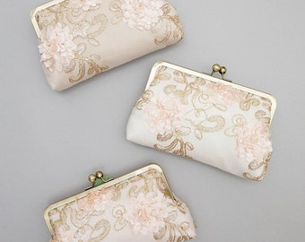 Blush Sequin Bridesmaid Clutch | Pink Floral Wedding Purse | Personalized Bridesmaid Gift [Set of 3 Adelaide Clutches]