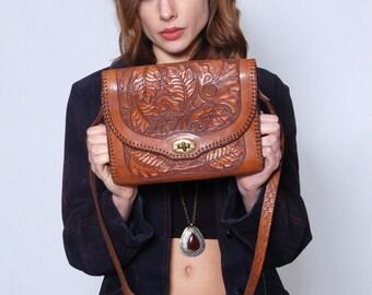 Vintage 70s TOOLED LEATHER Handbag with Matching WALLET Artisan Floral Leather Bag Boho Bag