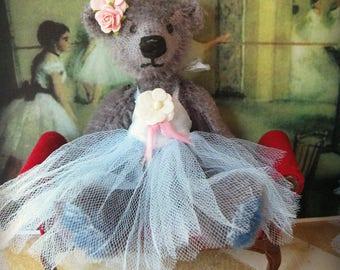 Ballerina Bear Tinker - OOAK Artist Bear -  Smoky Gray German Mohair Mini Bear