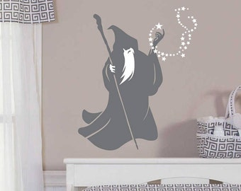 Wizard Wall Decal, wizard sticker, vinyl wall decals, merlin the magician, fairytale decal, warlock, wizard with stars, nursery wall decals