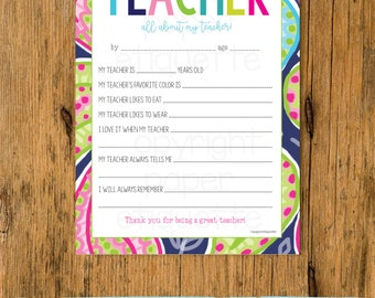 All About My Teacher -  Teacher Appreciation /End of Year Teacher Gift-Fill In The Blanks -Print Your Own Teacher Card- Paisley Teacher Gift