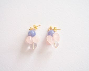 Aquamarine & Rose Quartz Pebbles Sugar Crystal Earrings, Clip On/Studs/Hooks, March, April, October Birthstone, Clear, Transparent, Sunshine