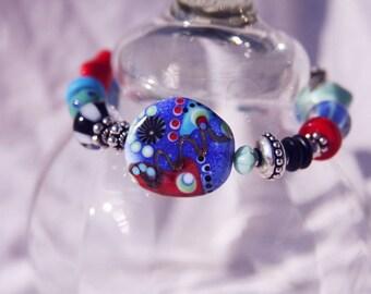 OOAK ADJUSTABLE BRACELET, Wearable Art, Handmade, Lampwork, Sterling Silver, Vintage glass, Wire-wrapped
