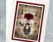 Vampire Girl Greeting Card - Vampire & Bats Note Card - A5 Greeting Card - Blank Card - Among Friends