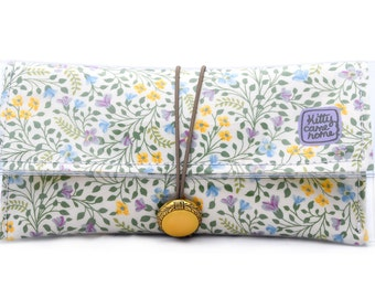 Button Clutch - sunshine flowers vintage floral