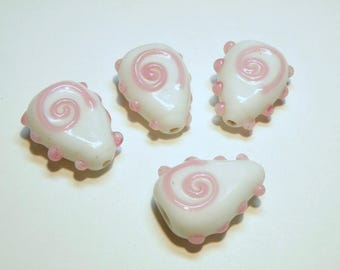Four (4) White and Pink Opaque Teardrop Glass Beads with Pink Spiral Design - Lot 3M