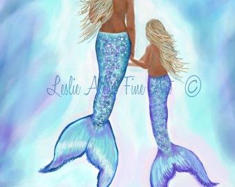 """Mermaid Art Print Mermaid Painting Mermaid Decor Mermaids Siren Beach Art Ocean Mermaid Decor  """"MERMAID GENTLENESS"""" Leslie Allen Fine Art"""
