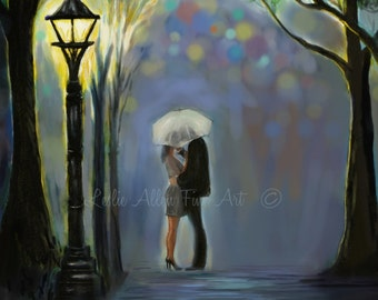 "Couple Art Print Couple Painting Couple Love Hugging Couple in Love Street Romance Romantic Art ""AMAZING YOU"" Leslie Allen Fine Art"