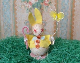 Vintage Spun Cotton and Chenille Easter Bunny Rabbit Decoration Japan