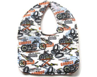 Motorcycles Flannel Baby Bib - Motorcycle Garage Bib - What Happens In The Garage Bib - Motorcycle Repair Bib