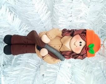Handmade Female Hunter Christmas Ornament - Handmade Polymer Clay Christmas Ornament - Gift for Hunter Deer Hunter Gift for Gun Owner -1288