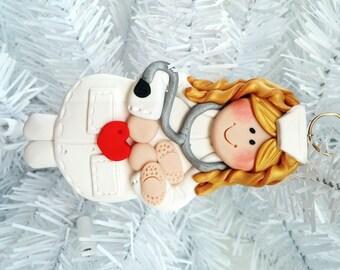 Nurse Christmas Ornament  -  Polymer Clay Christmas Ornament - Nurse Gift - Female Nurse Ornament - Polymer Clay Nurse Ornament  - 12813