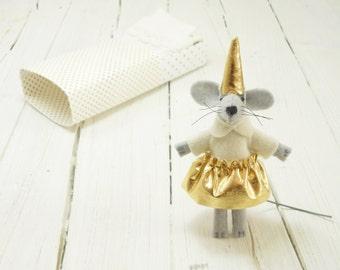 Felt animals Golden mouse in a matchbox hand made dolls party hat Christmas gift for kids stocking stuffers cute stuffed matchbox