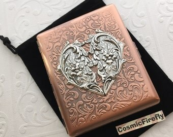 Large Size Copper Cigarette Case Extra Big Antiqued Copper Metal Wallet Gothic Victorian Heart Steampunk Case NEW