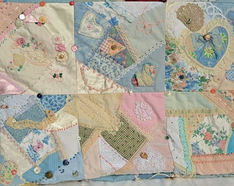 Crazy Quilt Embellished With Lots of Decor