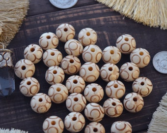 Circles: Hand Carved Rondelle Bone Beads, Creamy White, 14x11mm, 5 loose large hole bone beads / Mala from Nepal, Prayer Beads / Supplies