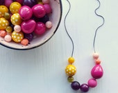 rhubarb - necklace - vintage lucite - jewel tone rainbow necklace - polkadots