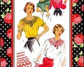 Vintage 1951-CHARMING SMOCKED BLOUSE-Two Styles-Short or -Long Raglan Sleeves-Peplum-Scoop Neckline-Transfer for Smocking-Size 16-18-Rare