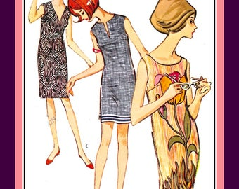 Vintage 1964-MOD PANEL DRESS-Sewing Pattern-Six Styles-Neckline Variations-Design Perfect for Panel -Border Prints-Sleeveless-Size-11-Rare