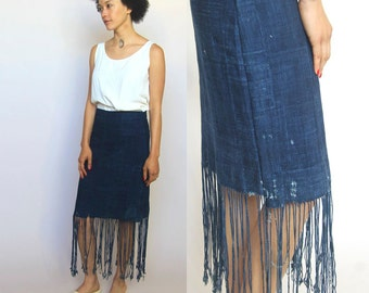 unearthed -- vintage indigo African fabric high-waisted skirt with dramatic fringe edge S
