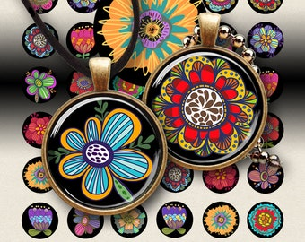 """1"""" (25mm) and 1.5"""" (38mm) size printable circle images HAPPY FLOWERS digital download for glass and resin pendants jewelry, ArtCult designs"""