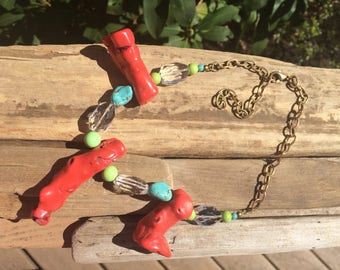 coral necklace artisan crystal necklace artist designed jewelry gift for her summer jewelry beaded necklace ocean necklace seaglass necklace