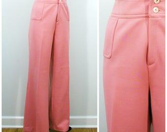 Vintage Polyester Pants, Pink High Waist Slacks, Alex Colman 70s Flare Wide Leg Pant