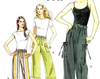 Vogue 8584 Sewing Pattern  Loose fitting Cargo Pants, elastic ankles Misses  Plus Size 8, 10, 12, 14, 16, 18, 20, 22, 24