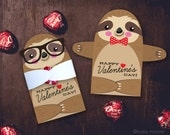 Cute Sloth Classroom Candy Holder valentines cute animal individual candy valentine card Valentine's day chocolate holders hipster glasses