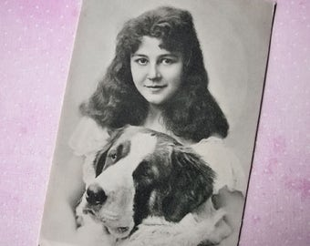 Antique girl with dog photo postcard, Antique Saint Bernard dog photo postcard, Antique French photo postcard, Antique dog lady postcard