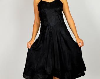 Vintage Slip, 1930s Slip, Slip Dress, Vintage Lingerie, Black Slip. Swing Dress Slip, Fitted Slip, Rayon Slip, Black Full Slip , 30s Slip,