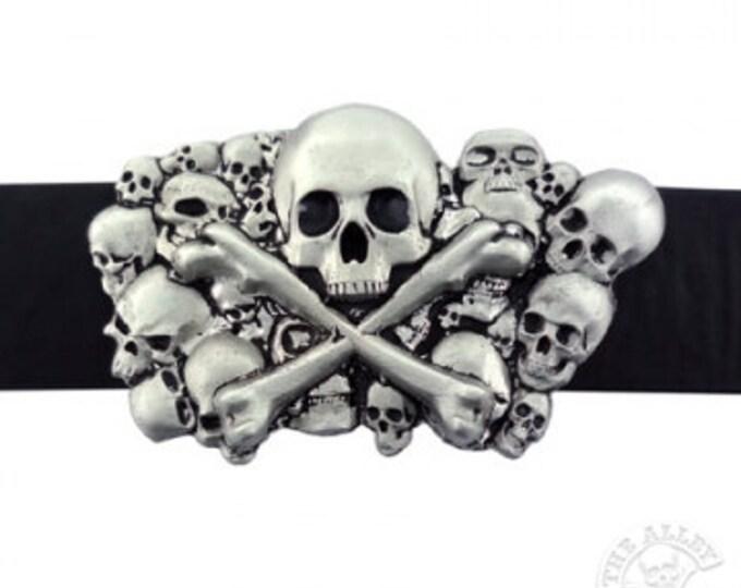 Men's Belt Buckle, Multiple Skull, Silver Buckle, Goth Belt Buckle, Steampunk Belt Buckle, Punk, Rockabilly Skull Buckle,