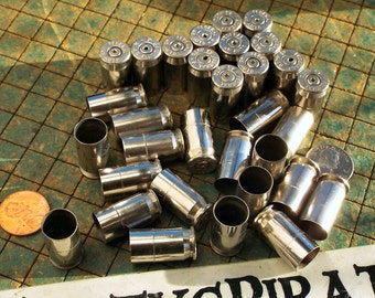 Drilled Brass Bullet shells, nickel plated, 45 ACP, 10 count, 45 Auto, spent ammo, steampunk, assemblage, found art jewelry